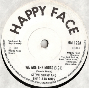 "Sharp, Stevie And The Clean Cuts - We Are The Mods/ He Wants To Be A Mod, 1980 UK pressed 7"" single, [Happy Face Records MM122], very rare"