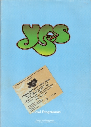 Yes...UK Tour Programme 1975, UK program, c/w ticket stub [10th May 1975, QPR Football Ground, London]