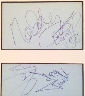 Slade, full set of the period 70's signitures, [Noddy Holder, Jimmy Lea, Dave Hill & Don Powell]