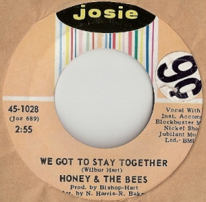 "Honey And The Bees - We Got To Stay Together/ Help Me, original U.S. 7"" single release on Josie Records 45-1028. Rare Northern Soul recording"