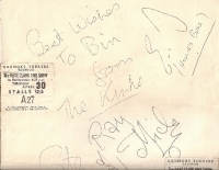 Kinks, The - Full set of genuine 60's autographs of the band members, signed in nice large and very clear writing