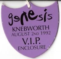Genesis Tour Pass - Knebworth 1992 - VIP Enclosure