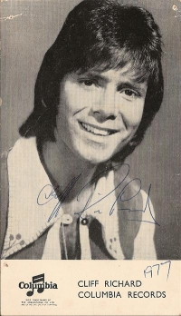 Richard, Cliff - Signed Columbia promo card from 1977