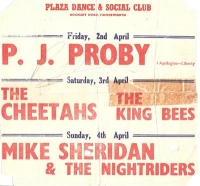 Proby, P J - signed flyer from 1965
