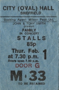 Family - Concert Ticket Stub 1973