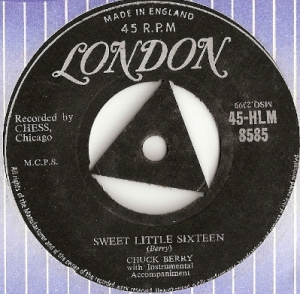 Berry, Chuck - Sweet Little Sixteen/ Reelin' and Rockin', UK original single, London Records 45-HLM 8585 issued UK 1958
