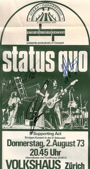 Status Quo - Concert Poster, original signed poster for a Zurich concert from 1973