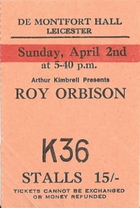 Orbison, Roy - Concert Ticket from 1967