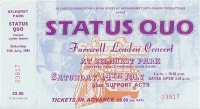 Status Quo - complete ticket, for 'Farewell London Concert', Selhurst Park, 1984