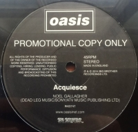 "Oasis - Acquiesce [Big Brother RKID74T] Original UK issue, 2014, 12"" single one sided promo single, sealed & unplayed"