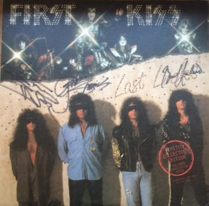 Kiss - First Kiss [Mercury Records PRO 792] 1990, US issue, promo only, includes unreleased demos etc, also signed on the front by Gene, Bruce and Eric