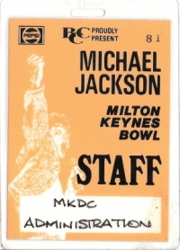 Jackson, Michael - Early 90's Back Stage Concert Pass