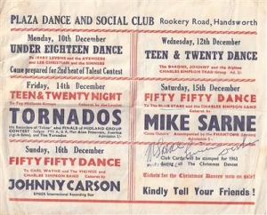 Flyer/ handbill,1963, Plaza Dance & Social Club, Handsworth, featuring The Tornados and Mike Sarne