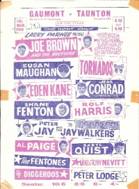 Concert Flyer - The Gaumont, Taunton, England, Friday March 29th, 1963. Larry Parnes presents Your Lucky Stars featuring Joe Brown, Susan Maughan