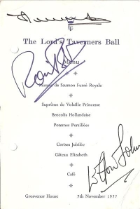 Elton John [with Eric Morecombe & Ronnie Barker] signed menu card from The Lord Taveners Ball, at Grosvenor House,  1977