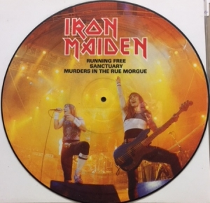 "Iron Maiden - Running Free/ Sanctuary/ Murders In The Rue Morgue [EMI Records 12EMIP 5532] 1985, UK issue, 12"" Picture Disc vinyl"