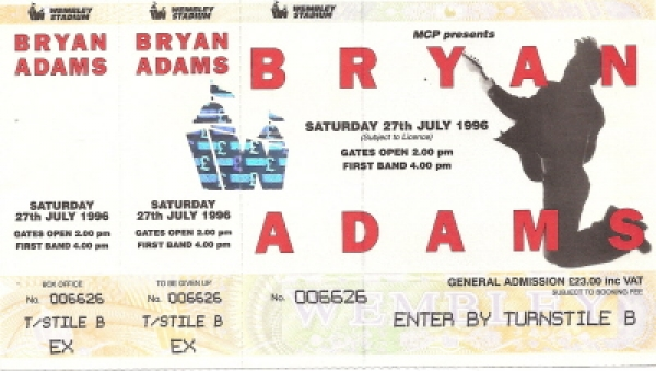 Adams, Bryan - Concert Ticket Stub 1996