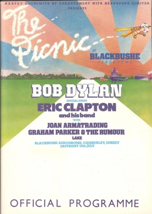 Dylan, Bob & Eric Clapton - UK Concert Programme 1978 'The Picnic' at Blackbushe Aerodrome c/w ticket stub and three newspaper reviews of this gig