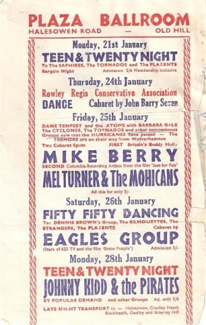 Flyer / Handbill from 1963 which mention Johnny Kidd & The Pirates and also Mike Berry