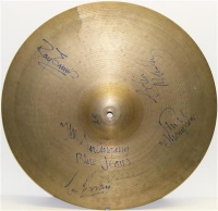 Swinging Blue Jeans - Fully signed and concert used Crash Cymbal