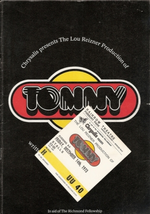 Who, The...Tommy gig/stage proformance 1973, UK program, c/w ticket stub [14th December 1973, Rainbow Theatre, Finsbury Park, London]