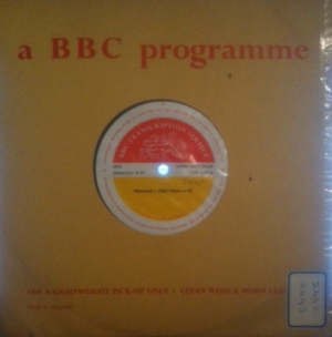 Hancock, Tony -Hancock's Half Hour. Original BBC Transcription Service pressing issue, BBC Records, red/ yellow label  [BBC Transcription Service Records 2442 and 2443] Mono 1958, with original BBC cue sheet
