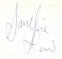 Sandie Shaw - nice clear autograph, signed in the 60's on lined paper