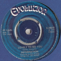 Information - Lovely To See You/ Face To The Sun [Evolution Records E.24615], 1970, original UK release with company sleeve, written by Justin Heywood/ Moody Blues.
