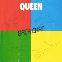 "Queen - Fully signed 7"" back chat single sleeve"