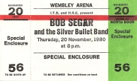 Seger, Bob  and The Silver Bullet Band, - Ticket Stub 1980