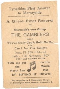 Gamblers, The [pre- Billy Fury's Backing Band] - concert flyer Novemebr 1963