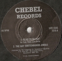 Bradford GLF -  Ft. Tom Robinson - 4 track EP inc. Glad To be Gay, [Chebel Records SRT/CUS 015] original UK 1975 with stickered label