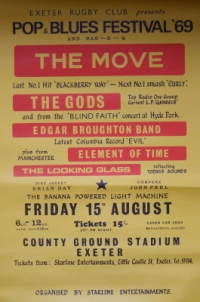 Move, The - 1969 small concert poster, with The Gods, Edgar Broughton and John Peel