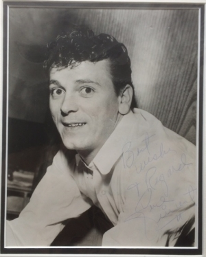 Vincent, Gene - B&W photo signed by Gene Vincent, signed in the UK, in the early to mid 60's.
