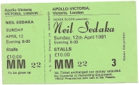 Sedaka, Neil -  Concert Ticket stub 1981