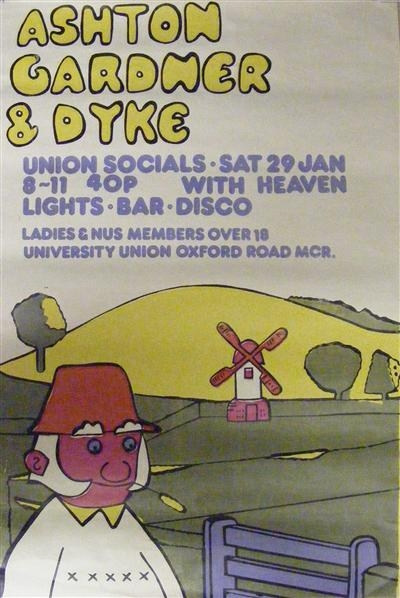 Ashton, Gardner & Dyke - Original colour concert poster from 1972