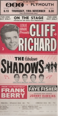 Richard, Cliff  with The Shadows, Frank Berry - original 1962 handbill/ flyer