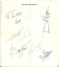 Rolling Stones, The - Full set of genuine Rolling Stones autographs from 1964, signed on Rolling Stones note paper