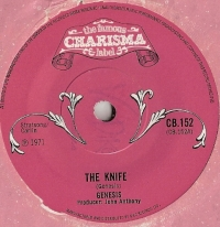 Genesis - The Knife/ The Knife [part 2] [Charisma Records CB.152], 1971, original UK release with pink die-cut paper sleeve