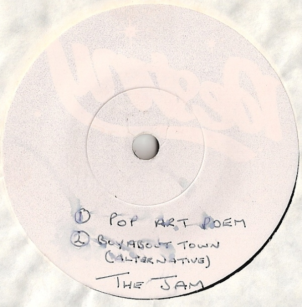 Jam, The - Pop Art Poem, [White Label Test Pressing] UK 1980, one sided hard vinyl test pressing for flexi disc, white labels, hand written track listings