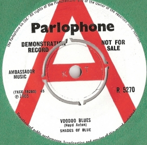 Shades Of Blue - Voodoo Blues/ Luceanne, [Parlophone Records R 5270] original UK Demo, 1965, mod/ freak beat